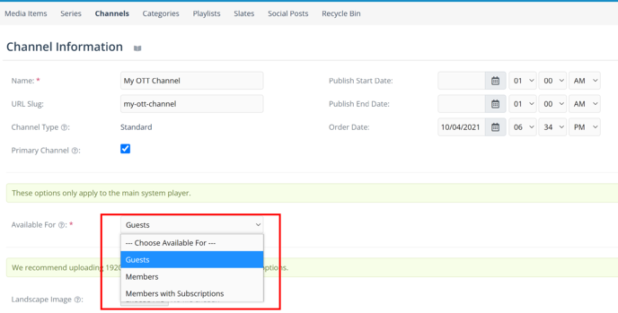 Channel Access selector