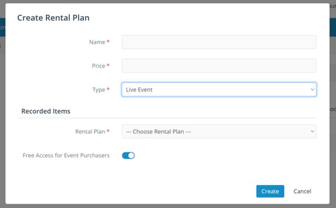 live event rental plan